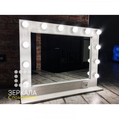 Гримерное зеркало с подсветкой и полкой 70х90